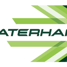 The new Caterham logo uses shades of green to illustrate the brand's future