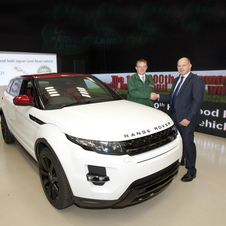 The specially painted Evoque with a white body and red roof will be auctioned for charity