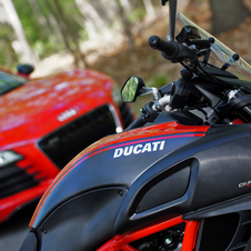 This image shows the Diavel more prominently with the R8 in the background