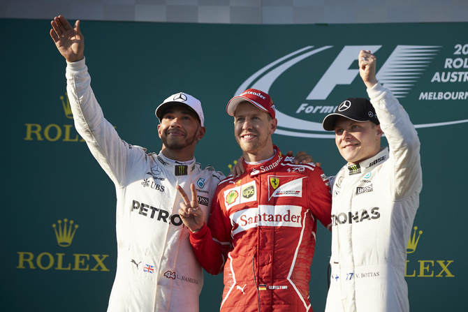 Hamilton finished second and Bottas third