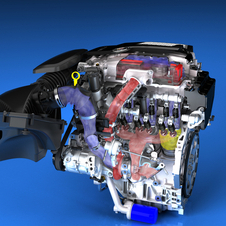 The engine features two small turbos, a top-mounted throttle body and short distances between the turbo and engine