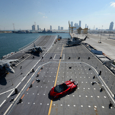 The car was unveiled on an Italian aircraft carrier in Abu Dhabi