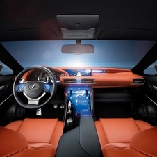 The interior brings together glass, leather and titanium