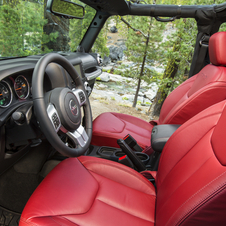 The interior is covered in red leather.