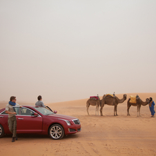 Cadillac's marketing campaign for the car has it driving all over the world