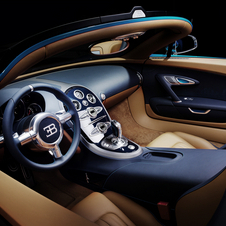 The interior offers a mix of brown and blue leather with blue stitching.