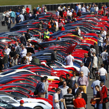 This year, nearly the entire 3.66 miles long circuit at Silverstone was covered with Ferraris.